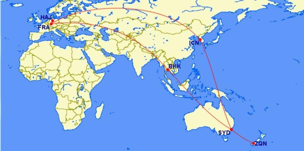 Miles & More 3 Regionen Flugprämie mit 8 Segmenten, 2 Stopovern aber ohne Open Jaws &copy gcmap.com