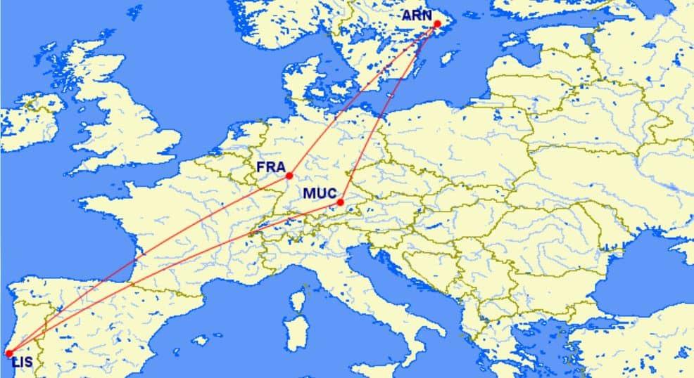 Miles & More Returnflüge innerhalb einer Region erlauben vier Segmente, aber keine Stopover &copy gcmap.com