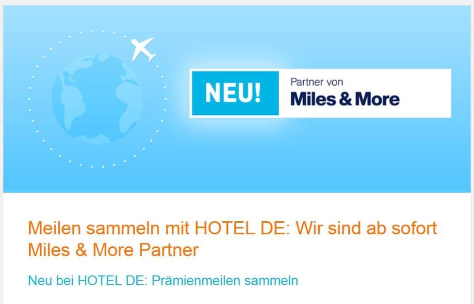 Mit HOTEL DE Miles & More Meilen sammeln Screenshot