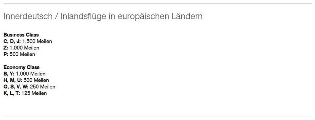 Miles & More Meilenvergabetabelle für Inlandsflüge mit Lufthansa