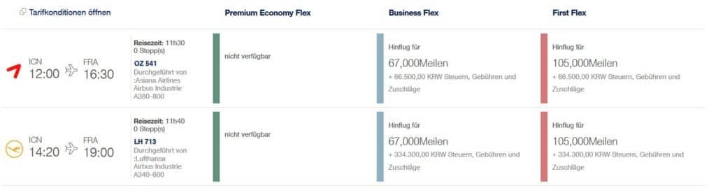 Für 105.000 Miles & More Meilen und ca. 50€ fliegt man in der Asiana First Class von Seoul nach Frankfurt