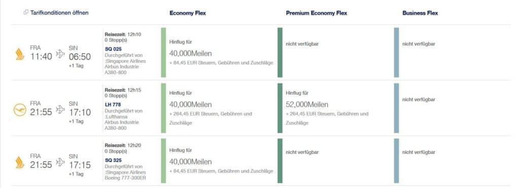 Singapore Airlines Economy Prämienflüge sind mit Miles & More Meilen buchbar