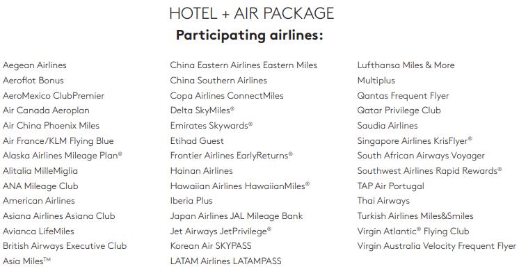 Alle Airline Partner der neuen Marriott Rewards Travel Packages