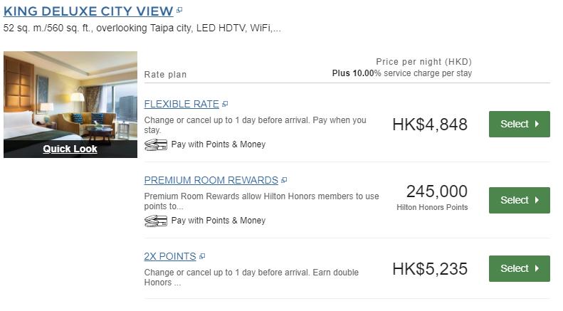 Ein King Deluxe Zimmer mit Stadtblick für 4848 HKD (540€) oder 245.000 Honors Punkte - Beides kein guter Deal