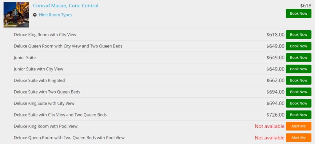 Verfügbare Zimmerkategorien geordnet nach Preis
