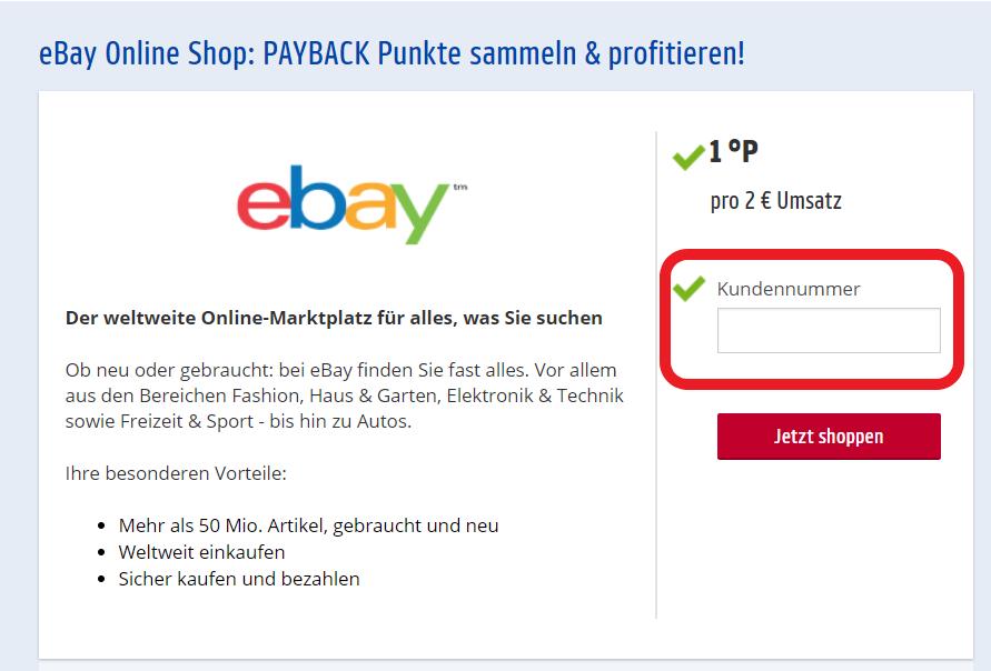 Eingabe der Payback Nummer beim Online Shoppen