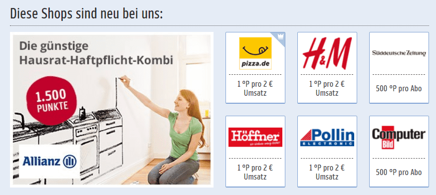 Neue Online Shops bei Payback