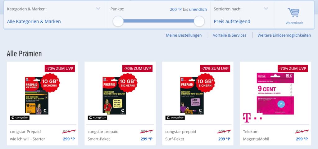 Prepaid-Karten sind aktuell die günstigste Möglichkeit zum Payback Punkte einlösen