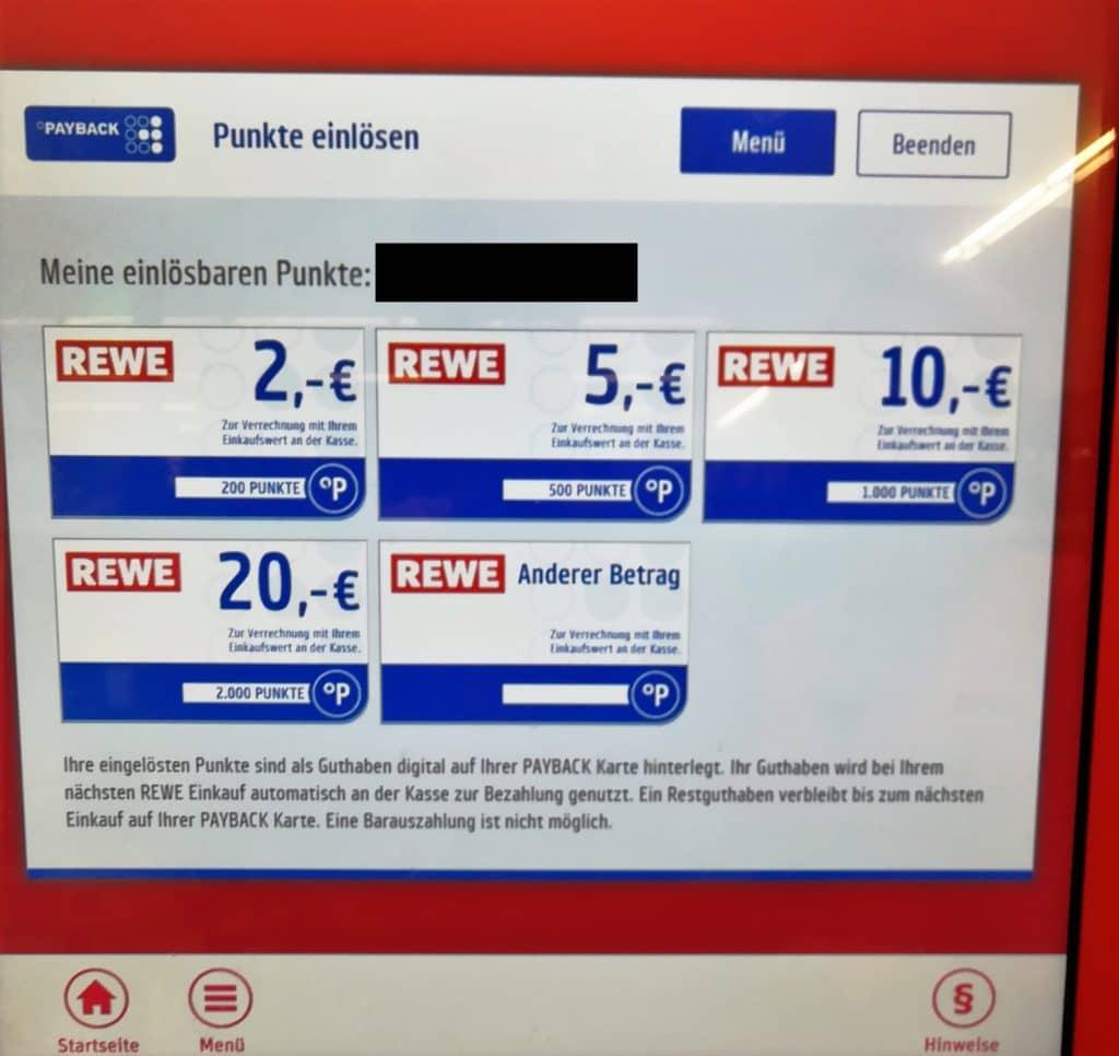 festgelegter Payback Punkte Wert beim Gutscheine ausstellen - Payback Punkte einlösen Rewe