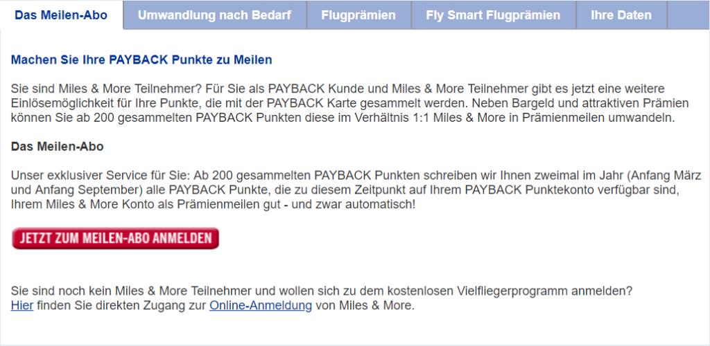 Payback Punkte werden mit dem Meilen-Abo zweimal jährlich an Miles & More transfiert