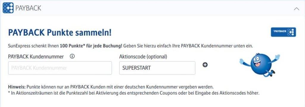 Mit SunExpress Payback Punkte sammeln: Der Aktionscode SUPERSTART bringt 7-fache Punkte