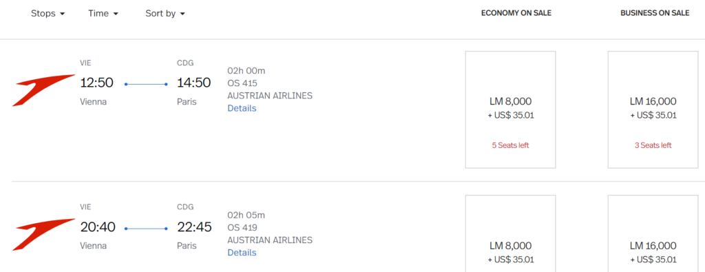 Austrian Airlines Prämienflüge mit LifeMiles buchen