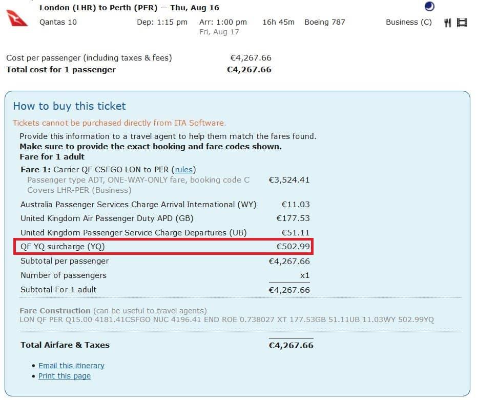 Steuern und Gebühren auf dem Qantas Flug von London nach Perth