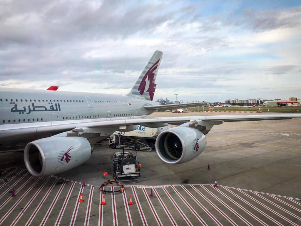 Qatar Airways Business Class A380 Flugzeug Ansicht hinten