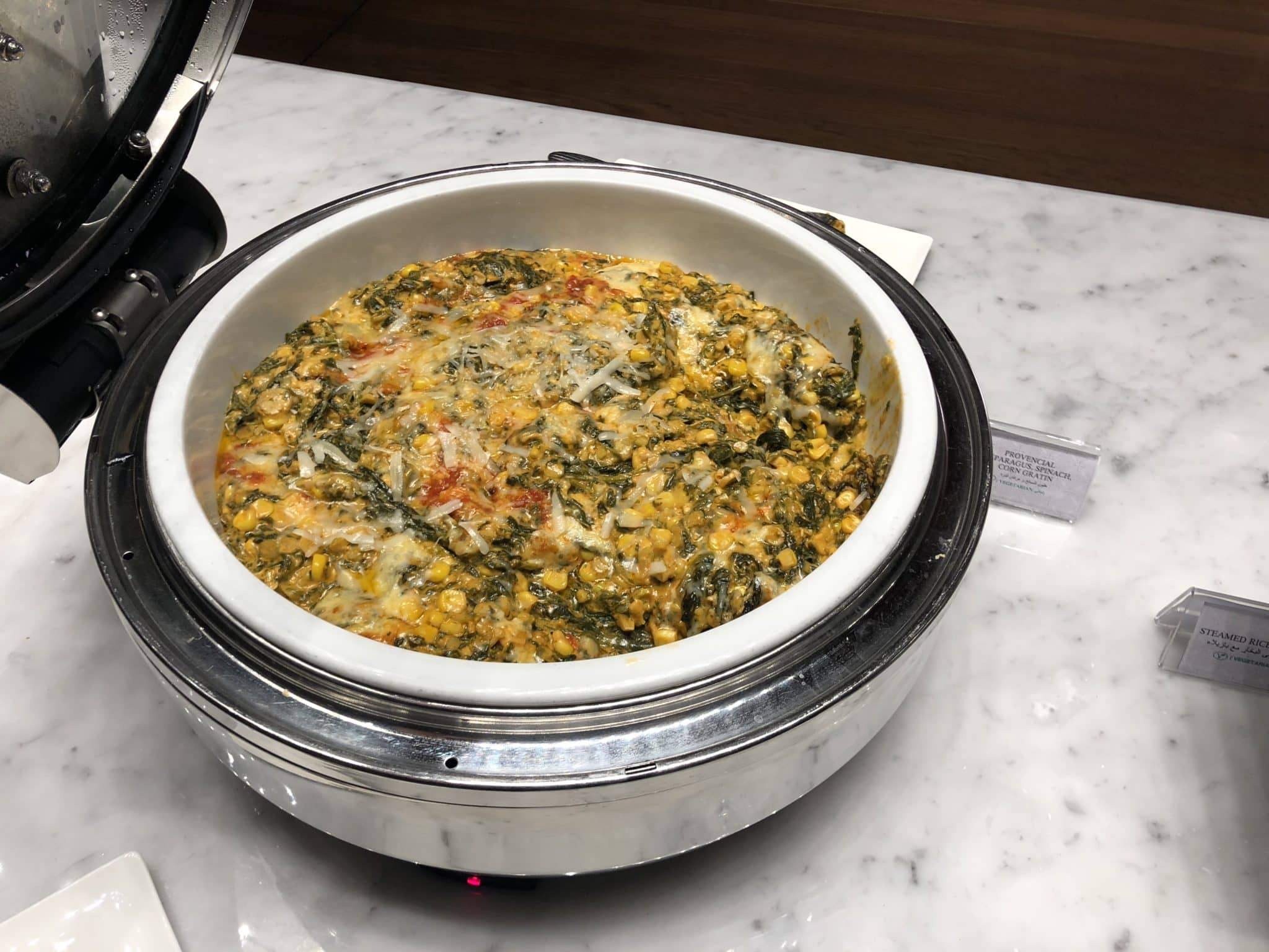 Qatar Airways Al Mourjan Business Class Lounge Spinat Corn Gratin