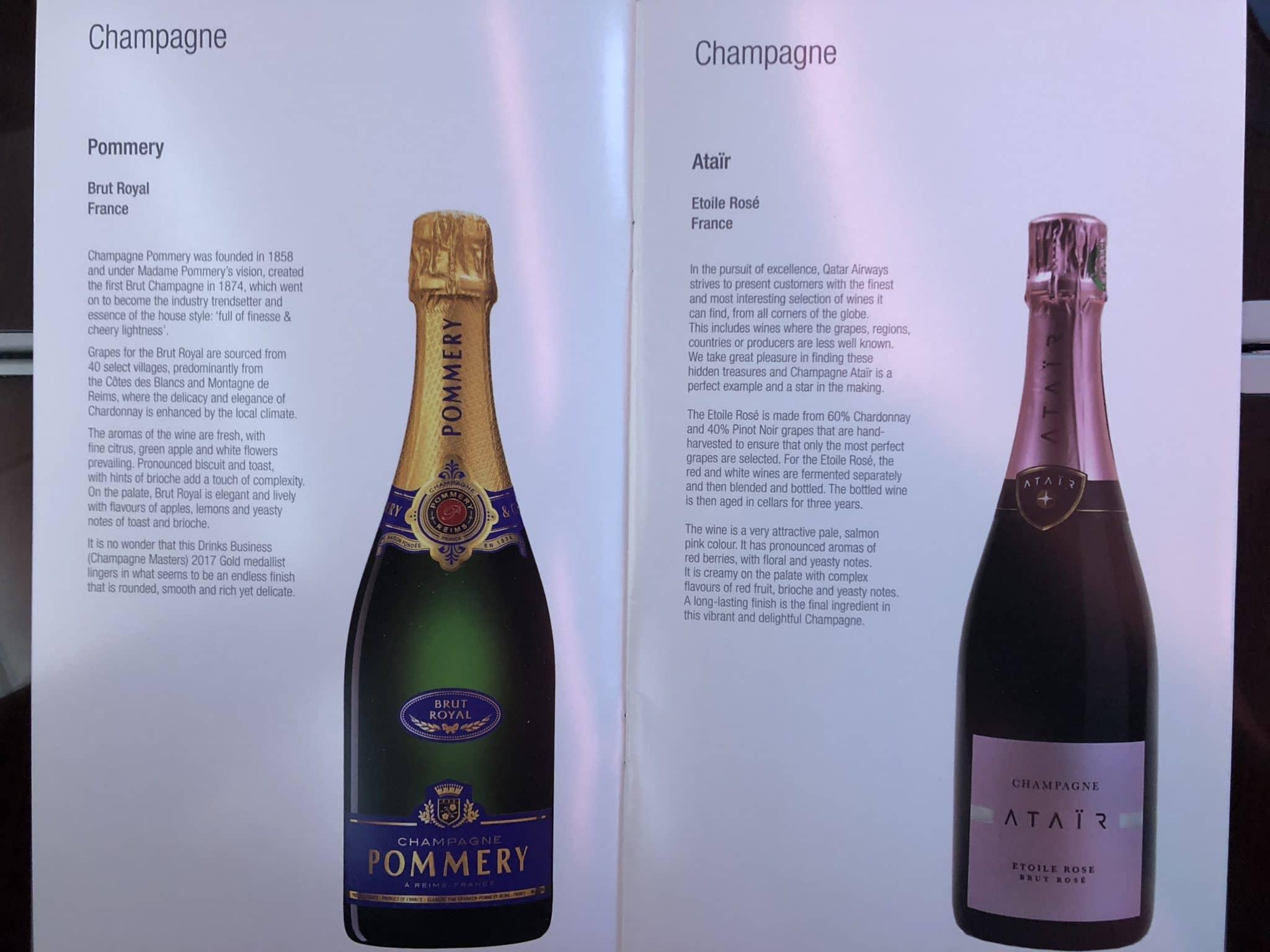 Qatar Airways Business Class A380 Champagner
