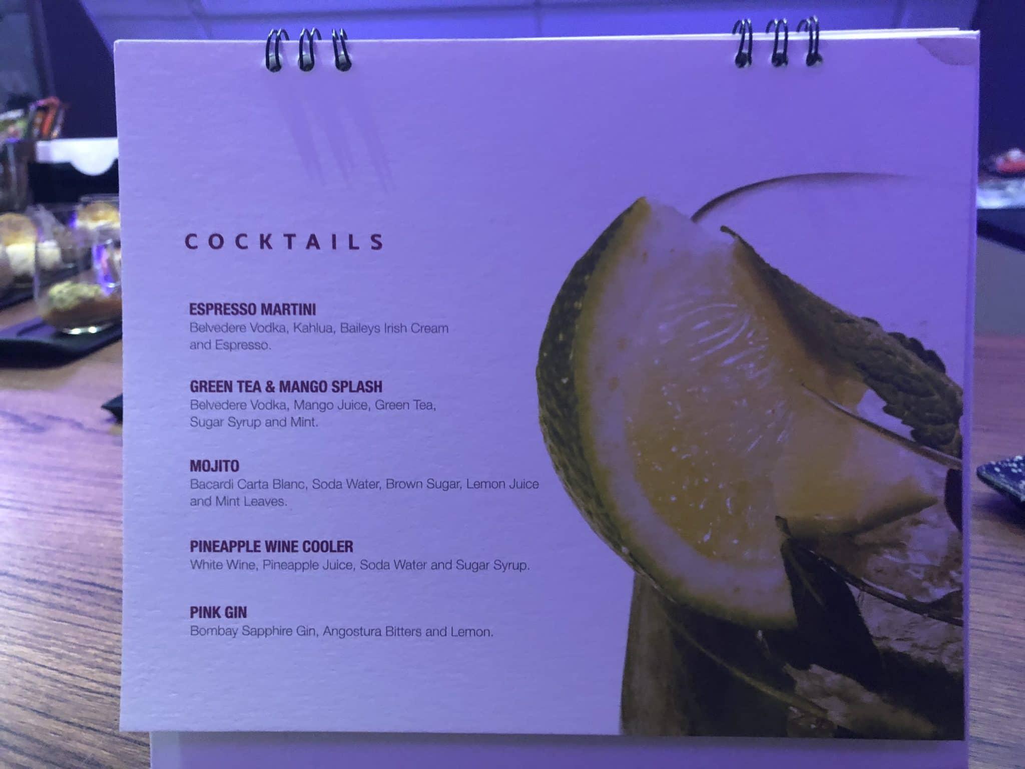 Qatar Airways Business Class A380 Cocktailkarte Bar