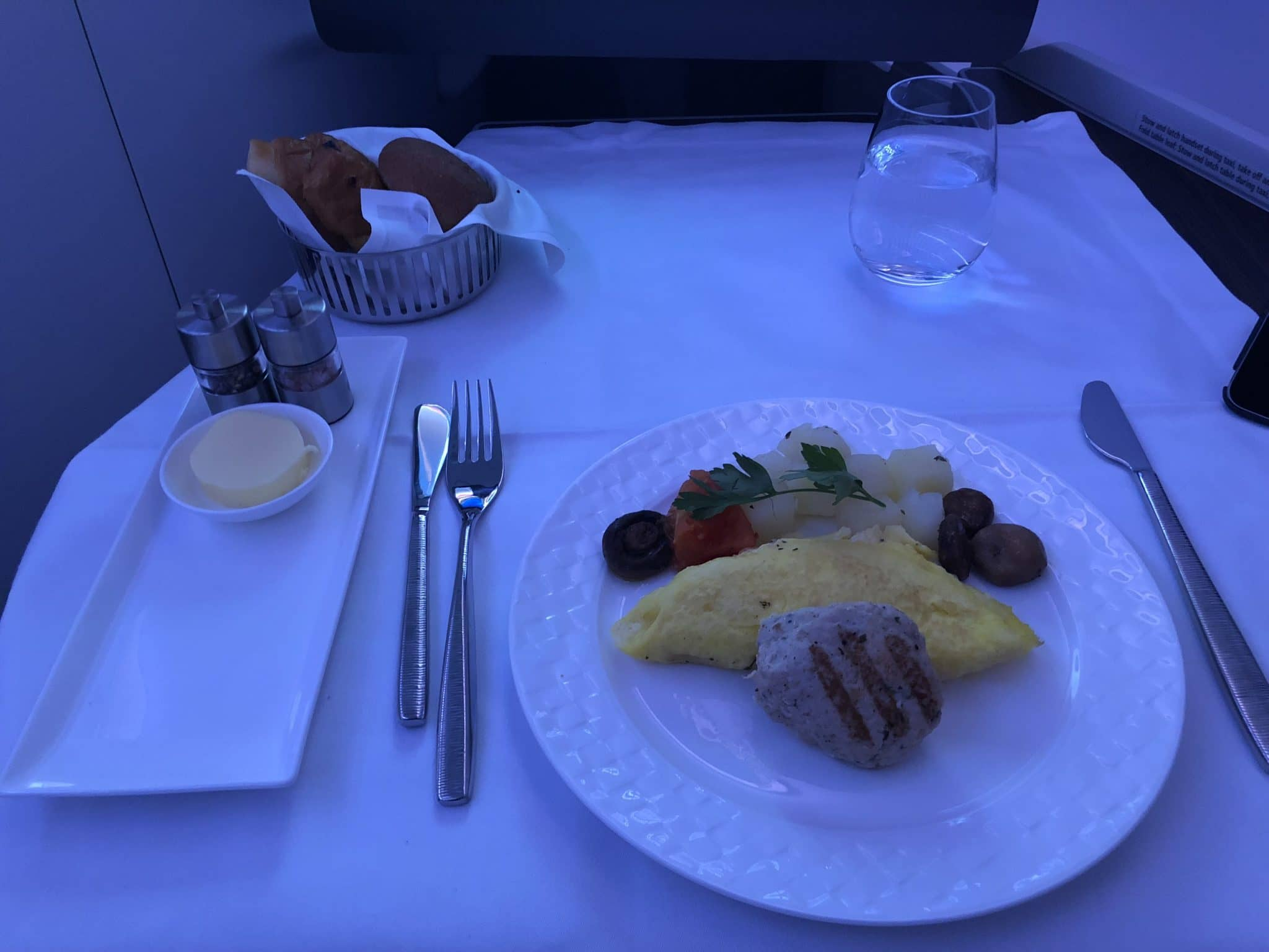 Qatar Airways Business Class A380 Omelette