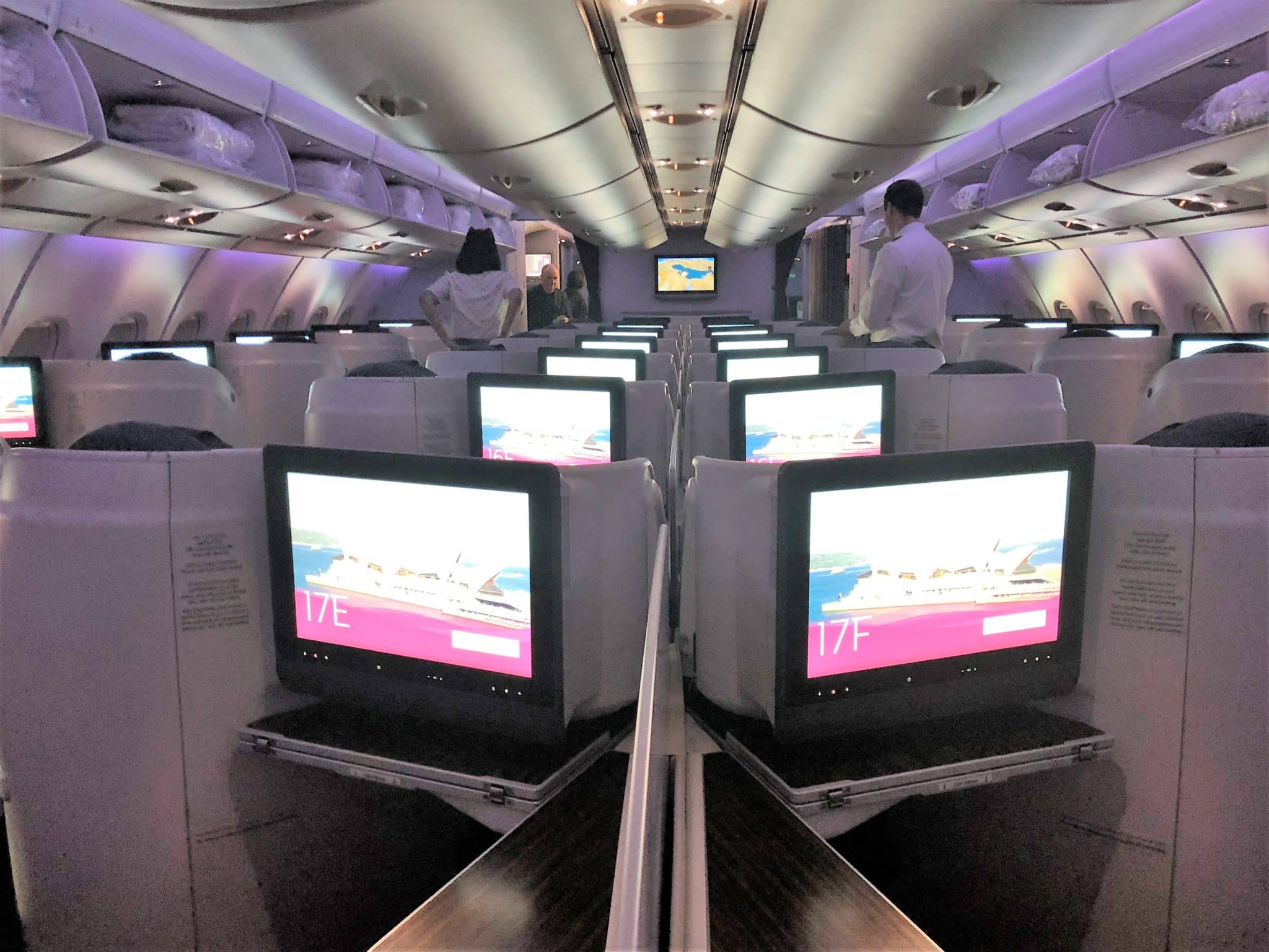 Qatar Airways Business Class A380 Kabinenansicht hinten
