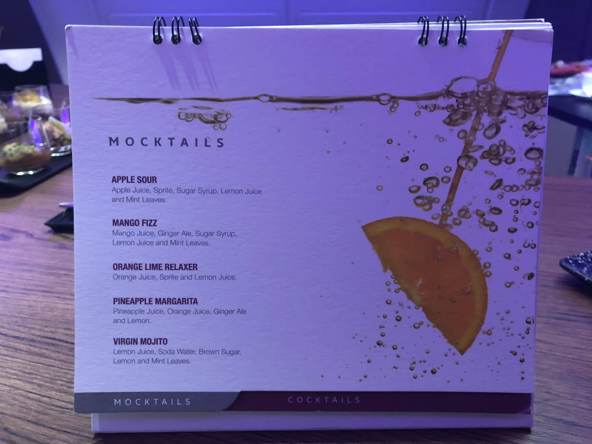 Qatar Airways Business Class A380 Mocktail Karte