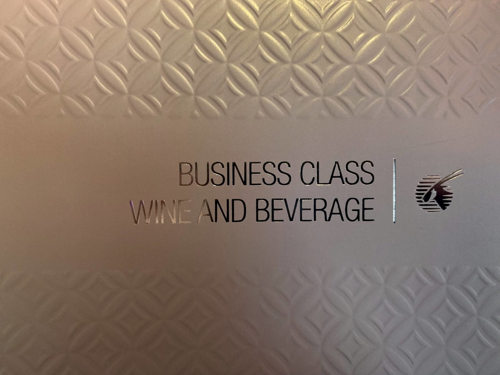 Qatar Airways Qsuite Boeing 777-300ER Business Class Weinkarte
