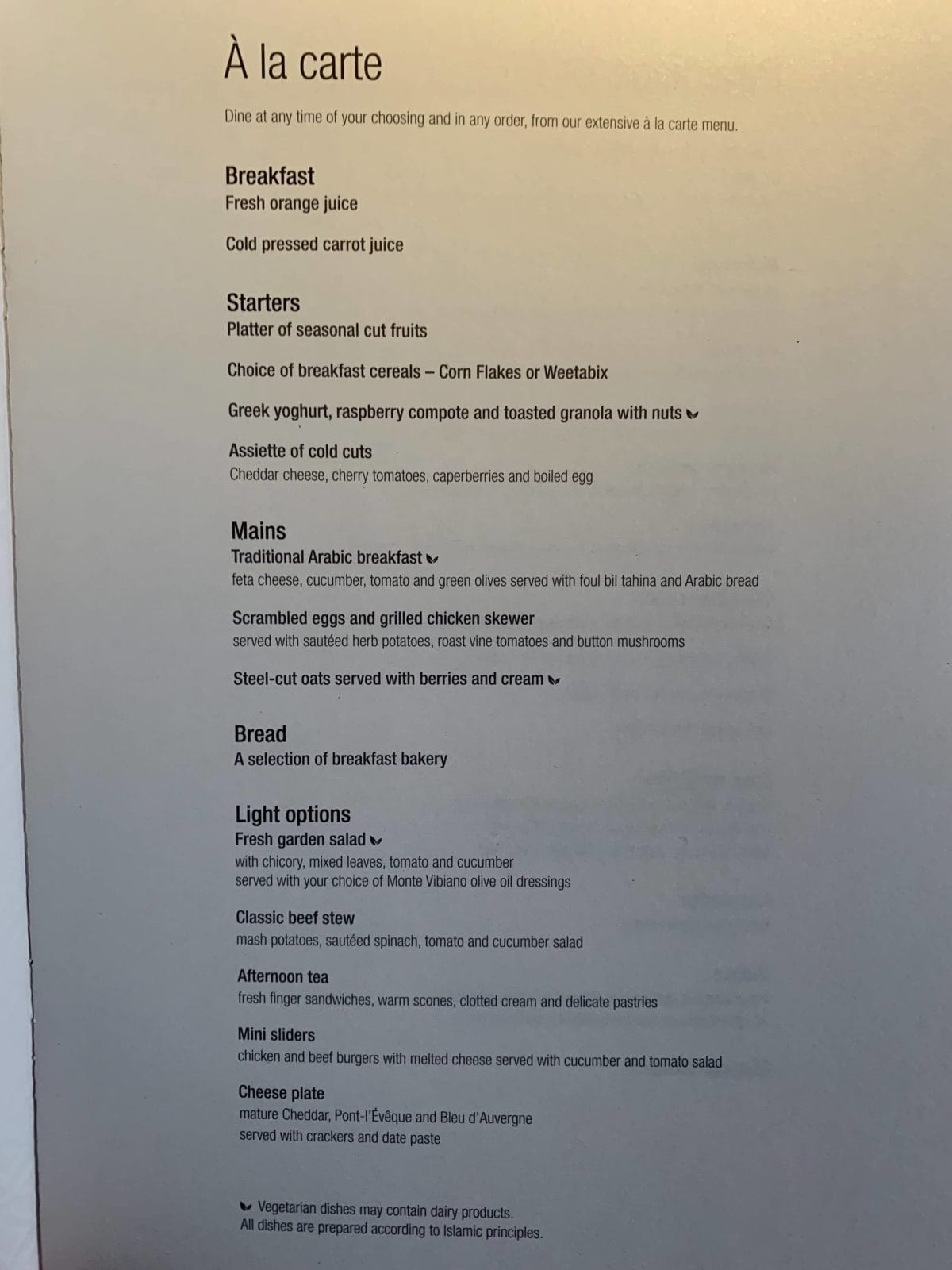 Qatar Airways Qsuite Boeing 777-300ER Business Class Menu