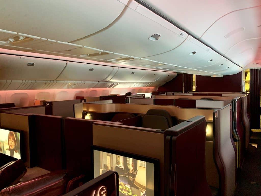 Die Qatar Airways Qsuite an Bord der Boeing 777-300ER