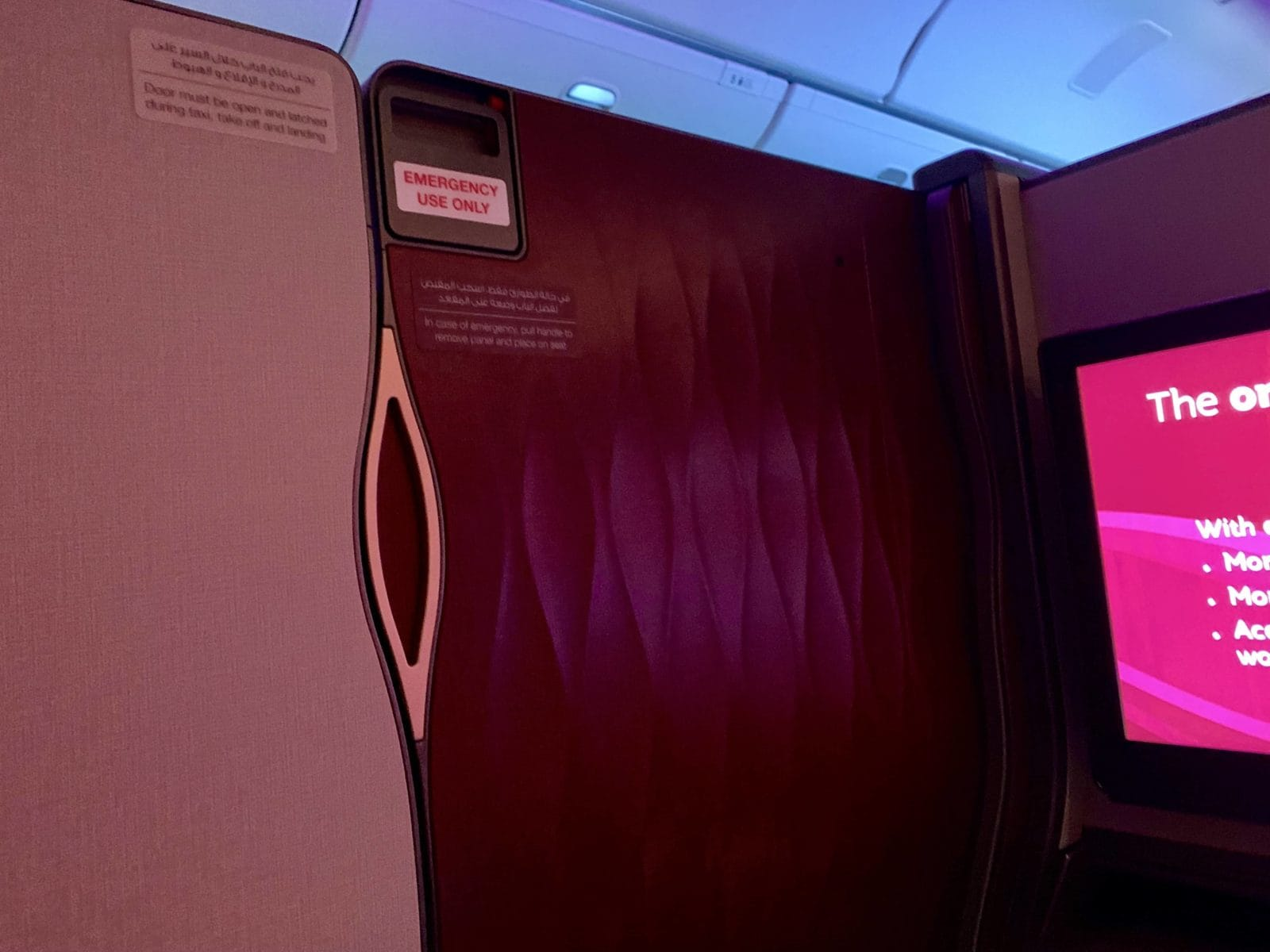 Qatar Airways Qsuite Boeing 777-300ER Tür