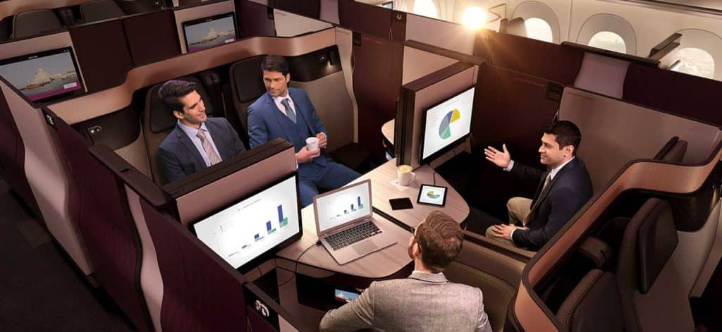 Qatar Airways Qsuite 4er-Abteilung &copy Qatar Airways