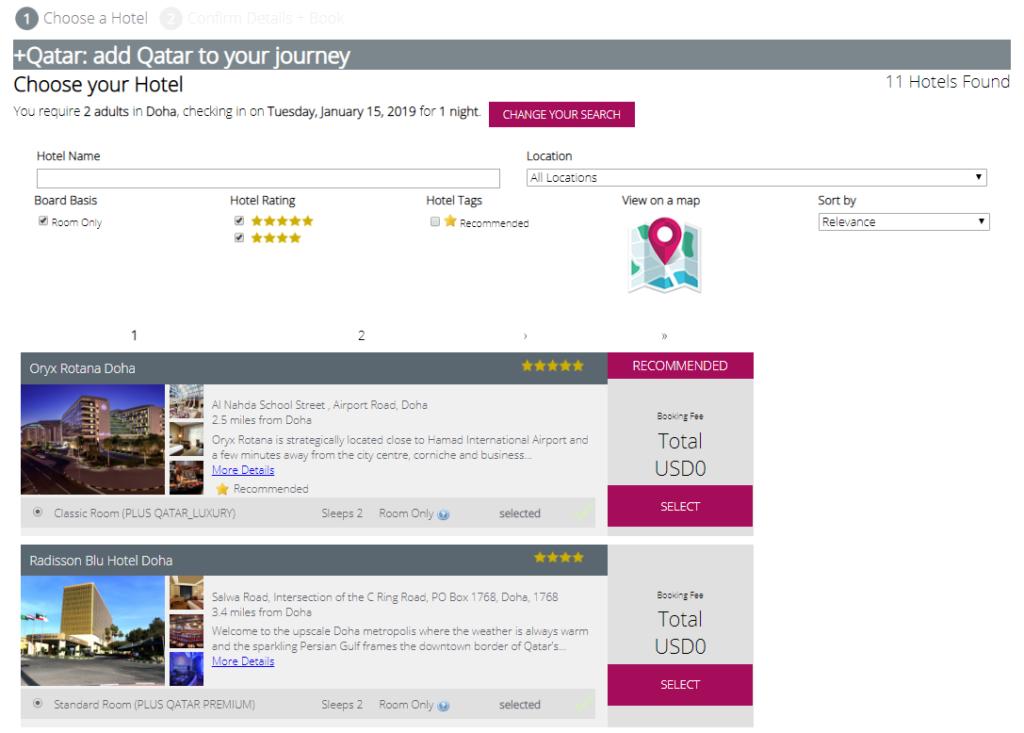 Hotelbuchung über +Qatar ©Qatar Airways