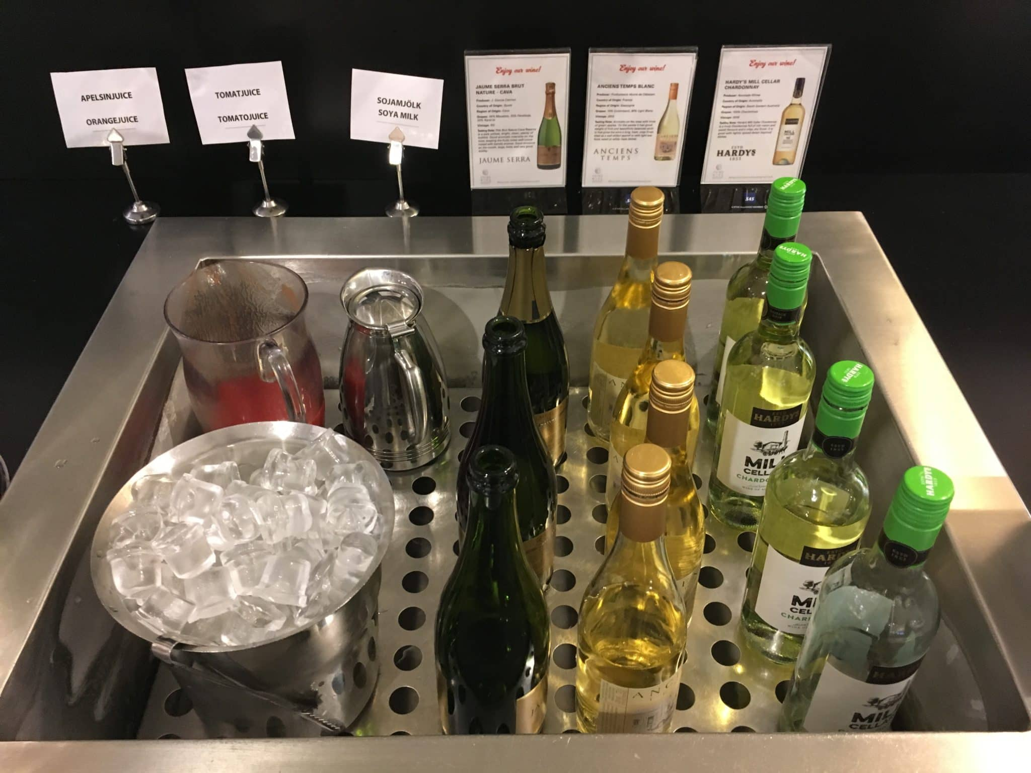SAS Gold Lounge Stockholm Weinauswahl