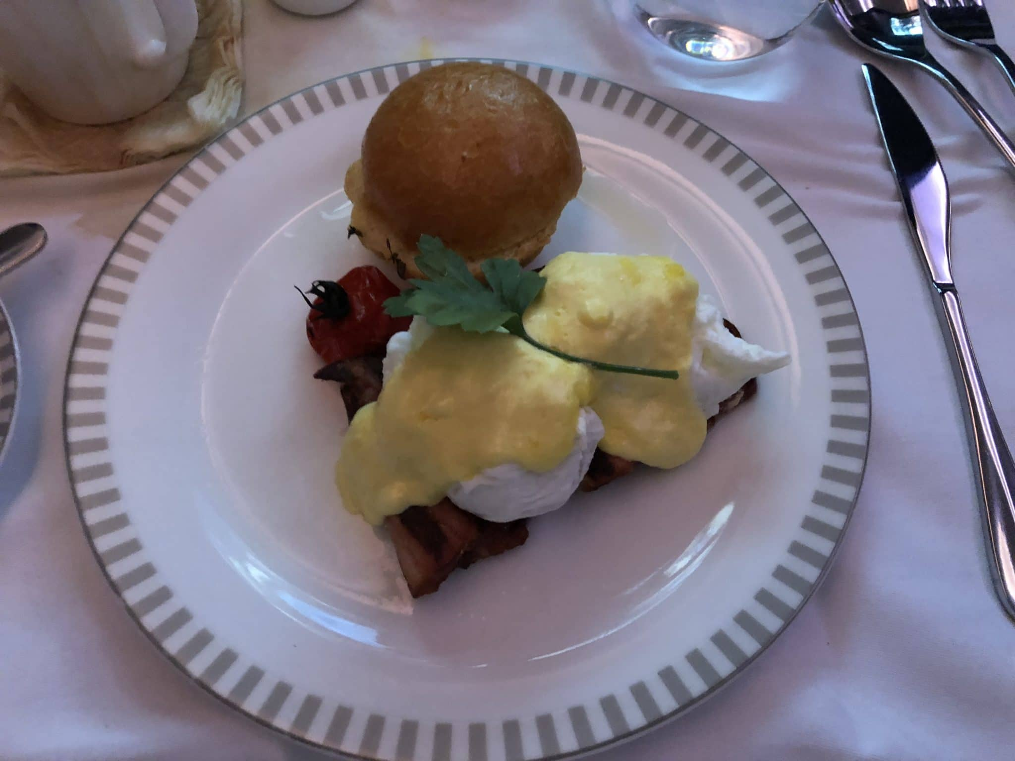 Singapore Airlines neue Business Class A380 Egg Benedict