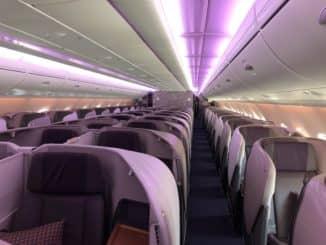 Singapore Airlines neue Business Class A380 Kabine von vorne