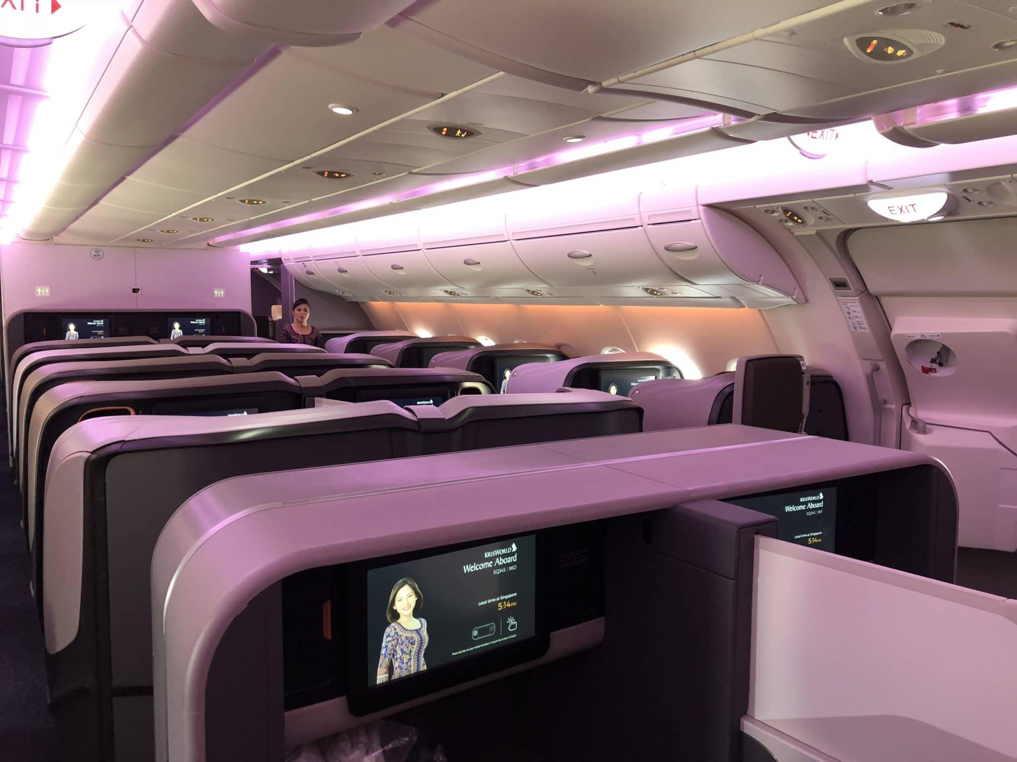 Singapore Airlines neue Business Class A380 Kabine von hinten
