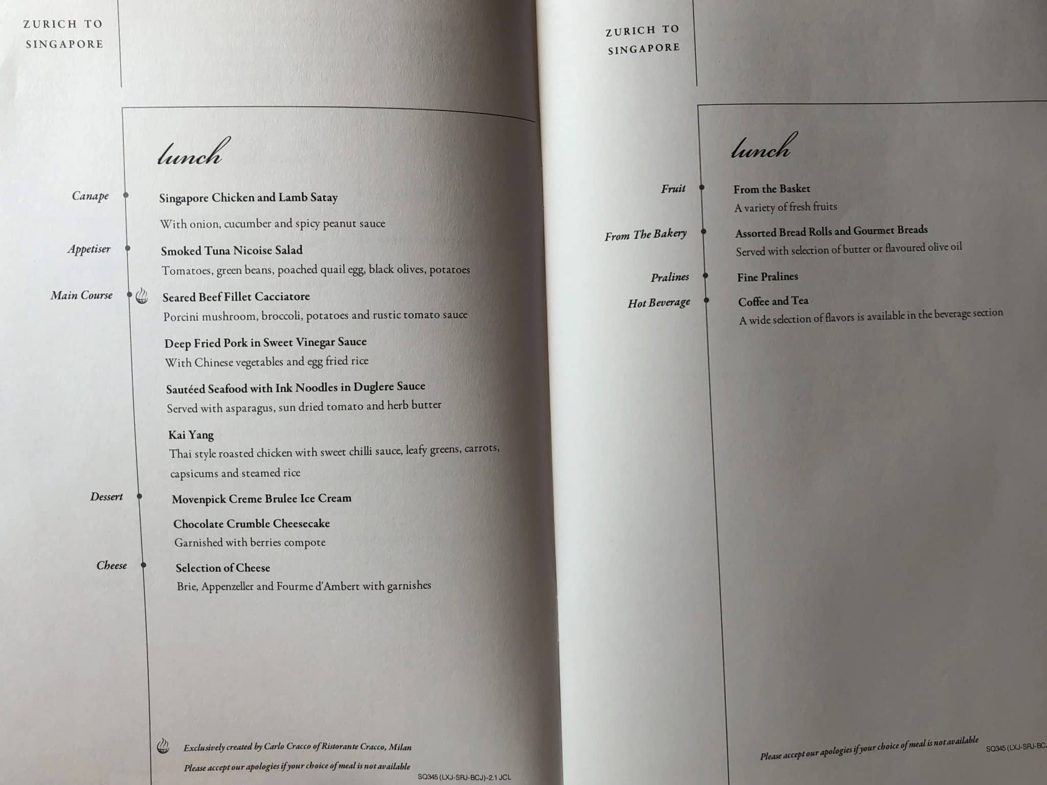 Singapore Airlines neue Business Class A380 Lunch Auswahl