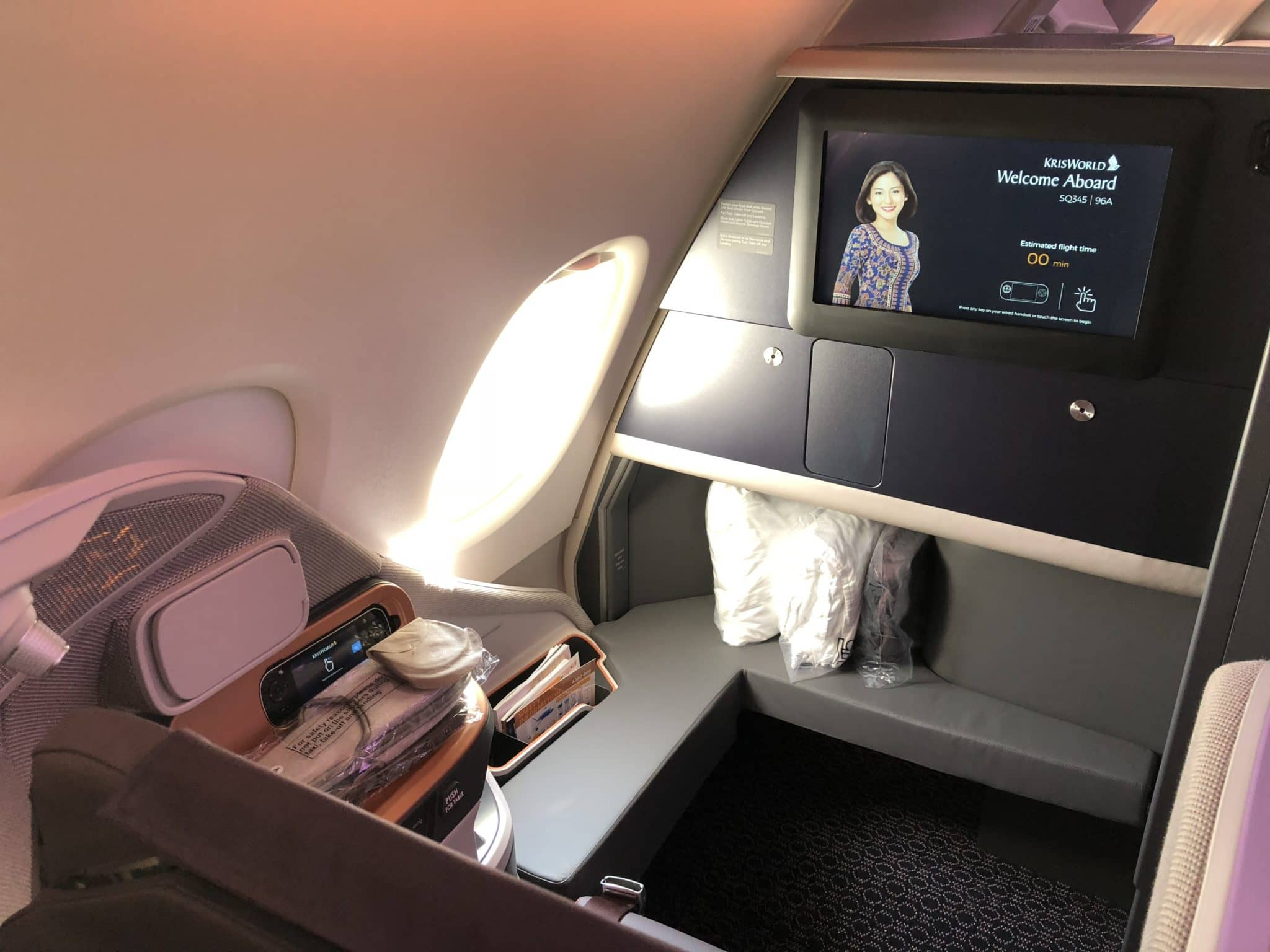 Singapore Airlines neue Business Class A380 Fußablage