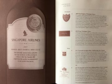 Singapore Airlines neue First Class A380 Champagner Karte