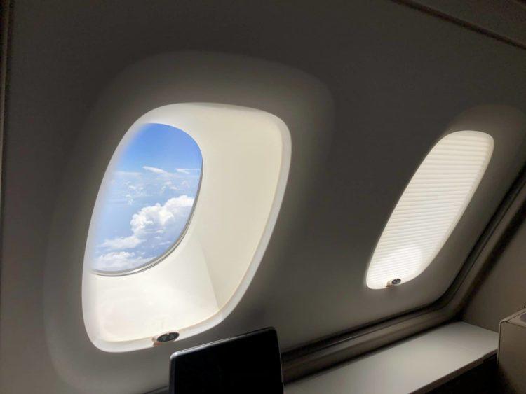 Singapore Airlines neue First Class A380 Fenster halb verdunkelt