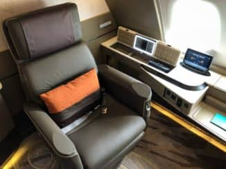 Singapore Airlines neue First Class A380 Sitz Ausgangsposition