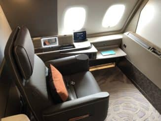 Singapore Airlines neue First Class A380 Sitz Blick auf die Wand
