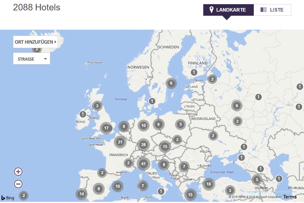 SPG Hotelverzeichnis Europakarte © SPG