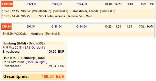 Preis für einen Flug von Hamburg nach Oslo auf der SAS Webseite