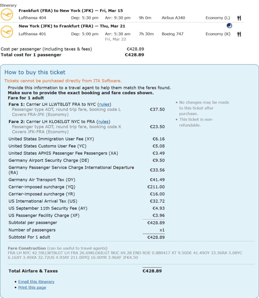 Steuern und Gebühren auf einem Lufthansa Ticket von Frankfurt nach New York