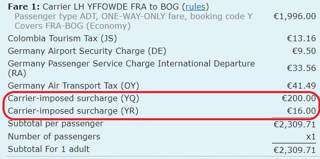 Steuern und Gebühren bei Lufthansa von Frankfurt nach Bogota