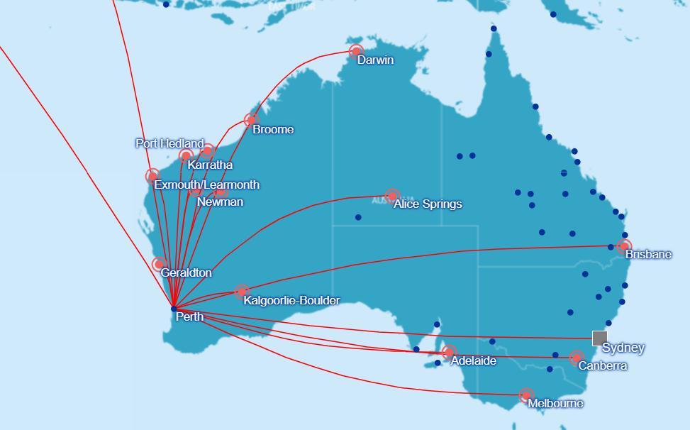 Streckennetz der Qantas ab Perth