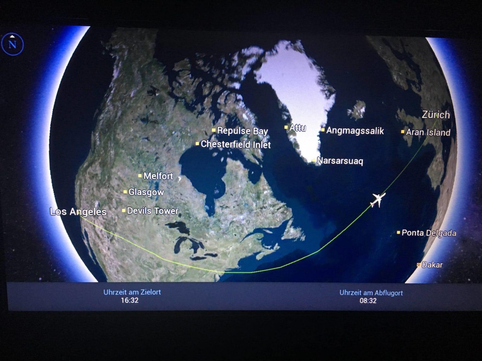 Flugroute von Los Angeles nach Zürich