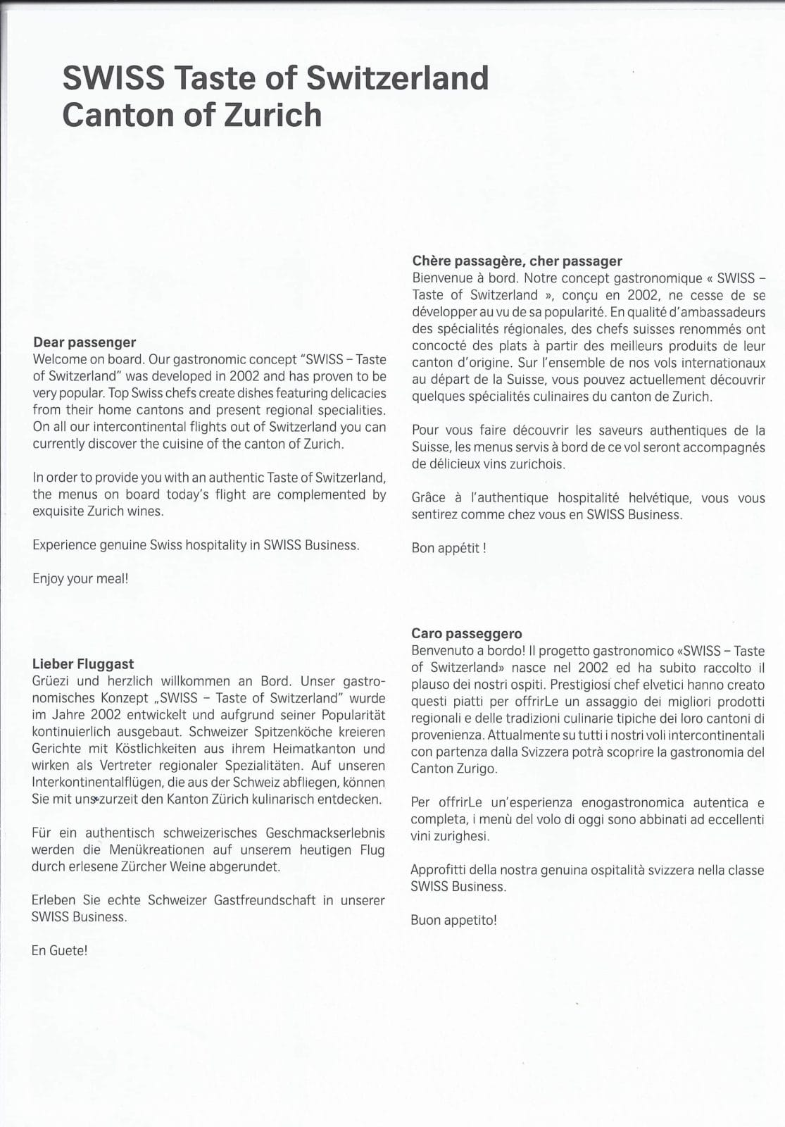 Swiss Business Class Menü von Los Angeles nach Zürich
