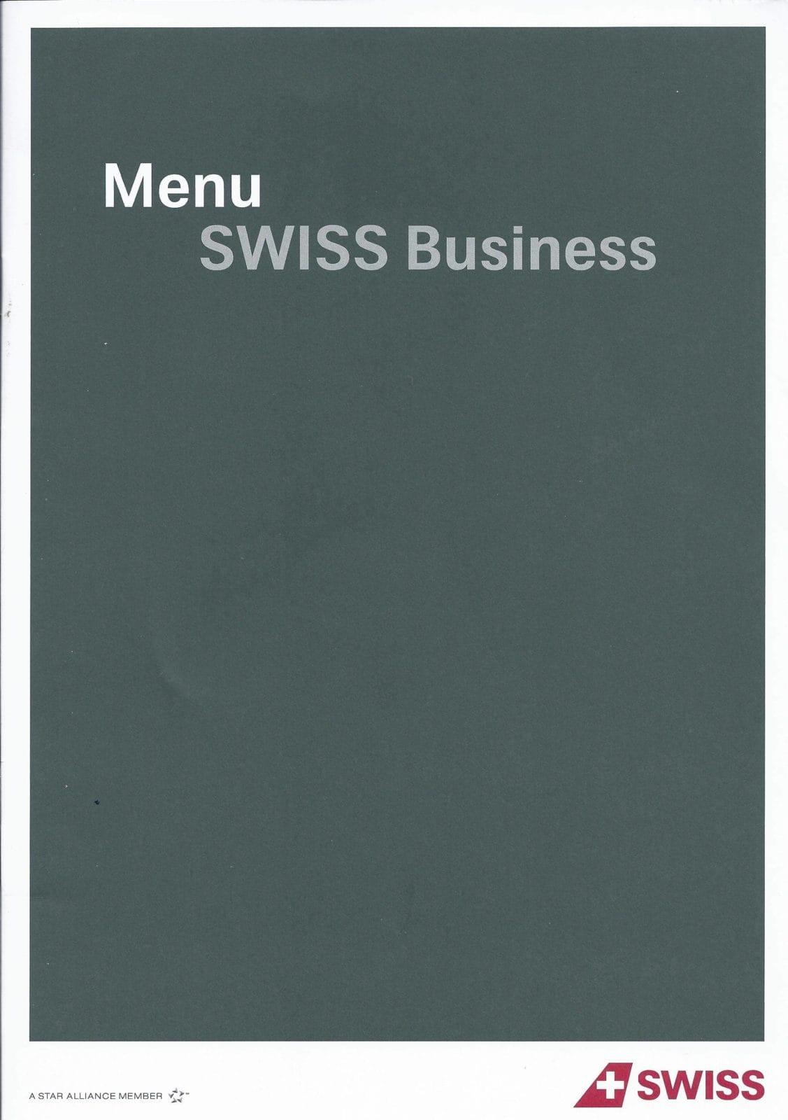 Swiss Business Class Menü von Zürich nach Los Angeles