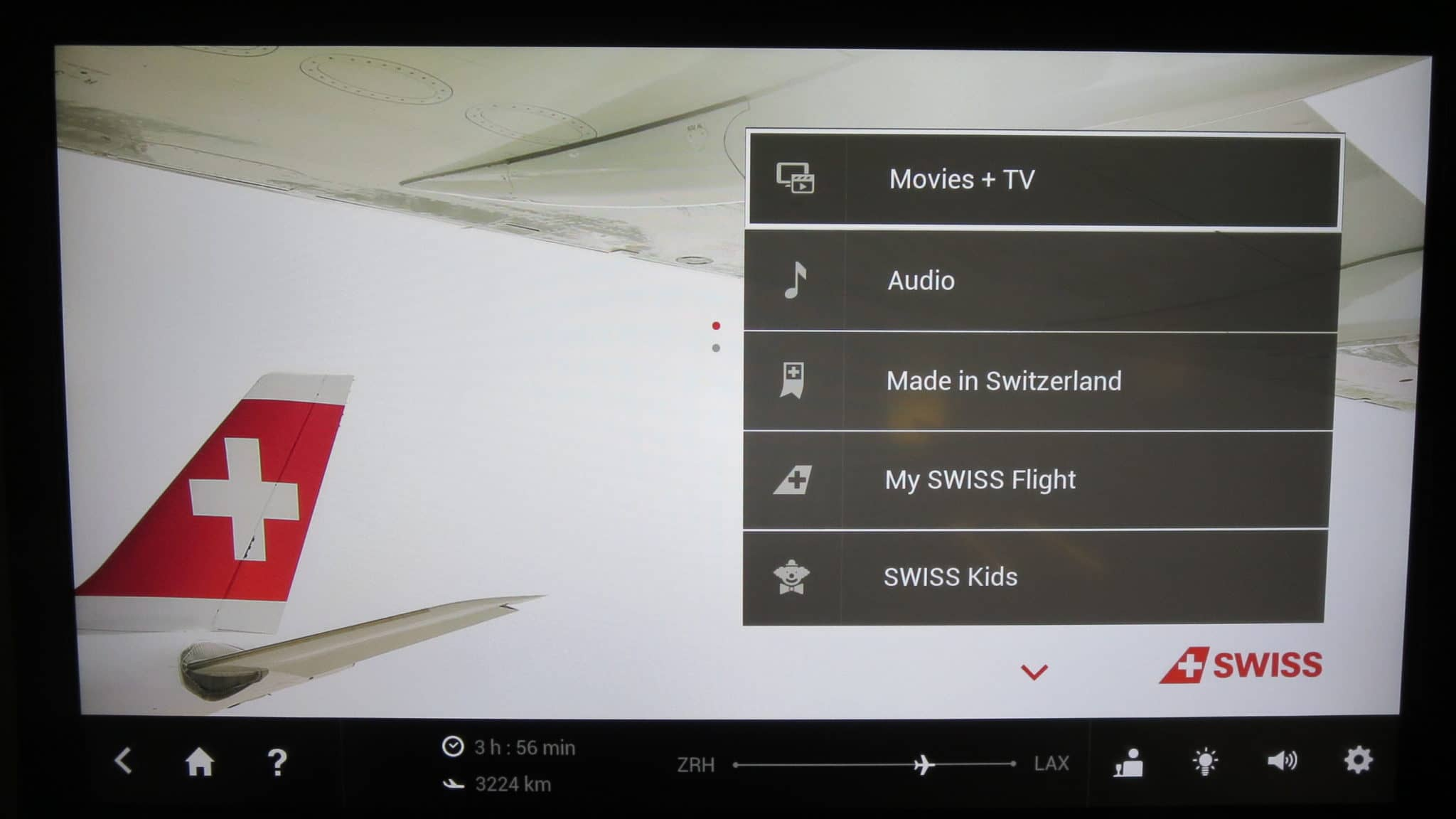 Swiss First Class Boeing 777-300ER Entertainment System