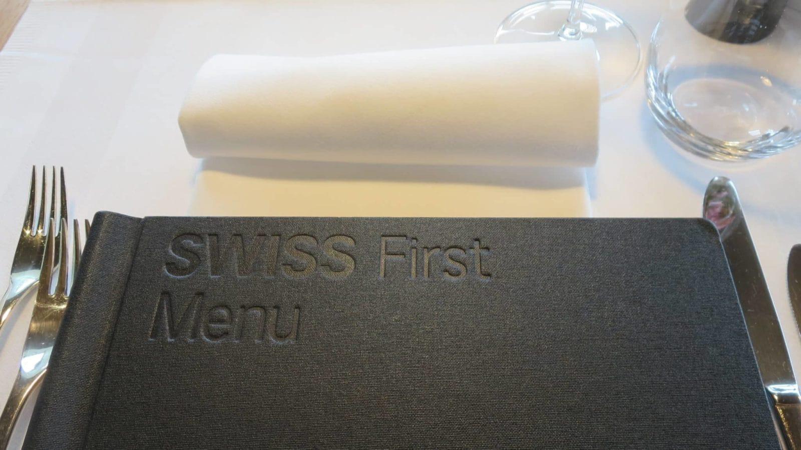 Swiss First Class Lounge Zürich E Menü